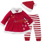 Xmas Santa Gift Claus Baby Girls Snowflake Fancy Dress Up Party Outfits Clothing
