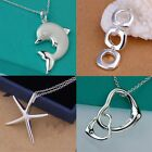 Wholesale Lady /Womens's solid 925 silver Pendant necklace Fashion Gift jewelry