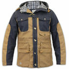 Mens Jacket Jack South Coat Hooded Cotton Clasp Two Tone Check Casual Winter New