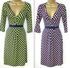 Fever London 8-14 Apple Print Fit & Flare Jersey Dress Blue Red / Green
