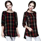 NEW Women Ladies Plaid Checked Long Sleeve Casual Loose T shirt Tops Blouse L3R1