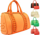 Ladies PVC Fashion Star Studded Molly Satchel Tote Bag Women Handbag Free Purse
