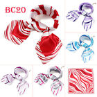 60cm Luxury colors stripe silk wrap head neck scarf square Kerchief Bandana BC20