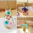 Retro Wholesale Dried Sunflower Animal Butterfly Glass Pendant Necklace Friends
