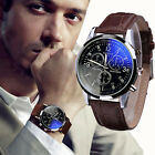 Luxury Fashion Mens Leather Blue Ray Glass Watch Quartz Analog Watches & Band