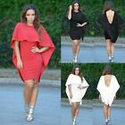 Sexy Women's White Black Red Winging Angle Cape Style Backless Party Dress WZ2D