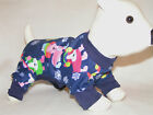 "Blue Snowflakes PJS 4 legged Flannel DOG Pajamas pet apparel XXS 8"" XS size 10""L"