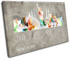 New York Geometric City SINGLE CANVAS WALL ART Picture Print