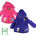 New Peppa Pig Girls Pink Puffa Nursery School Coat Hooded Jacket Winter Coat Uk