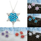 1PC Blue White Snowflake Flower Silver Plated Choker Chain Necklace Charm