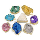 Natural Druzy Quartz Agate Geode Sliced Bracelet Necklace Connector Charm Beads