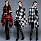 Oversized Plaids Women's Knit Cardigan Cape Wrap Poncho Shawl Outwear Cover Up