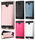 For AT&T ZTE ZMAX 2 Z958 Brushed Metal HYBRID Rubber Case Phone Cover Accessory