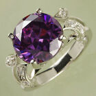 Purple Amethyst & White Topaz AAA Gemstones Silver Ring Size 6 7 8 9 10 11 12 13 image