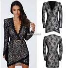 Elegant Womens Long Sleeve V-Neck Floral Lace Bodycon Pencil 3 Size Dress 4U8