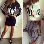 Women's Mini Dress Long Sleeve Top Bodycon Hoodie Hooded Jumper Slim Sweatshirt