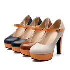 Women's Party Shoes Synthetic Leather Platform High Heels Pumps UK All Size S106