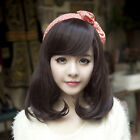 Women Lady Medium Length side fringe Costume Party Curl wavy Full Hair Wigs