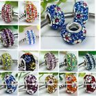 925 Sterling Silver European Crystal Big Hole Charm Loose Bead Fit Bracelet DIY