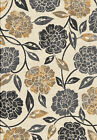 Contemporary Vines Gray Carpet Petals Leaves Circles Floral Synthetic Area Rug