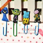4pcs Teen Titans Go Novelty Cartoon Bookmarks,Paper Clips Books Holder,Kids Gift