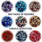CHOOSE COLOUR 4MM MIX BICONE CRYSTAL BEADS JEWELLERY CRAFT MAKING