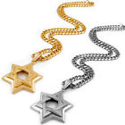 7mm Mens Silver Gold Curb Chain Star of David Stainless Steel Pendant Necklace