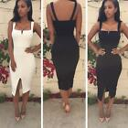 New Womens Sexy Slim Bodycon Bandage Dress Lady Split Evening Party Pencil Dress