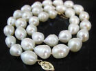 18INCH HUGE SOUTH SEA 10-13MM WHITE BAROQUE PEARL NECKLCE 14K CLASP  s