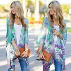 Women Floral Print Kimono Chiffon Cardigan Shawl Jacket Blouse Beach Cover Up UK