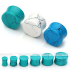 Pair 6-16mm Howlite Turquoise Saddle Solid Ear Tunnel Plugs Expander Stretcher