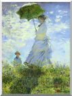 Stretched Canvas Wall Art Print Woman with a Parasol Umbrella Claude Monet Repro