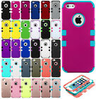 For Apple iPhone 5 5S SE Rubber IMPACT TUFF HYBRID Skin Case + Screen Protector