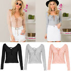 Women Chic Long Sleeve Lace Up Cross Tie Tops V Neck Backless Sexy Casual Blouse
