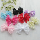 8/32/72/160PCS  Ribbon Trim Bows Flowers W/ Rhinestone Appliques Wedding E261