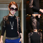 Fashion Women Hollow Out Lace Knitted Sweater Long Sleeve Blouse Tops Slim Shirt