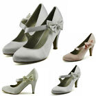 Ladies Women's High Heel Mary Janes Shoes Quality Wedding Bow Satin Court Shoes