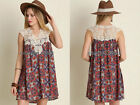 CORAL NAVY BLUE DRESS Print Lace Sleeveless Bohemian Boho Indie Tunic NEW S M L