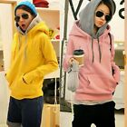 Fingerless Double Hooded Kangaroo Pocket Thumb Hole Women Hoodie Outwear Sweats