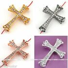 1x Side Ways Rhinestone Crown Cross Connector Charms Beads For Prayer Bracelet