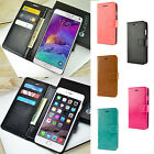 Slim Synthetic Leather Wallet Case Card Flip Cover For Apple Samsung Smart Phone