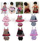 2PCS Baby Girls Bowknot Floral Top Dress Ruffles Bloomers Pants Outfits Clothes
