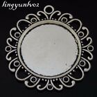 Antique Silver Alloy Lace Round Setting Tray Pendants Charms Finding  5x 50628