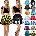 New Fashion Womens Digital Print Galaxy Short Pleated Skater Skirt Dress 15Color