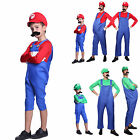 New Adult Mens Boys Kids Super Mario and Luigi Bros Fancy Dress Costume Plumber