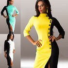 Women Lady Autumn Bodycon Collar Long Sleeve Party Cocktail Pencil Split Dress