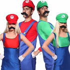 Mens Womens Super Mario Luigi Bros Cosplay Costume Couples Carnival Fancy Dress