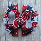 Nautical Anchor hair bow headband red white blue USA Patriotic clip toddler
