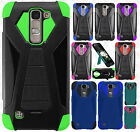 For LG K7 / Tribute 5 Turbo Layer HYBRID KICKSTAND Rubber Case +Screen Protector