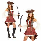 WOMENS LADIES NEW CASTAWAY PIRATE CARIBBEAN BUCCANEER FANCY DRESS COSTUME OUTFIT